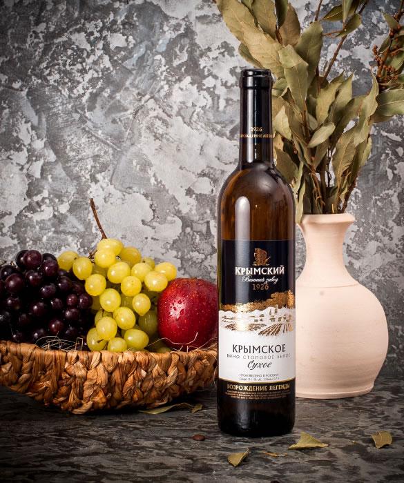 Крымское белое вино, сухое